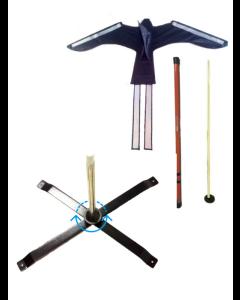 Komplet sæt (drage, line, teleskop, jordspyd og roterende krydsfod)